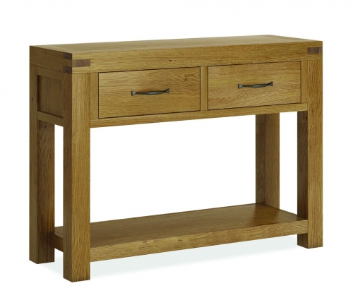 Sutton Rustic Waxed Oak 2 Drawer Console