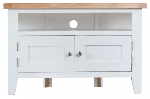 Thornton Painted Oak White Corner TV Unit