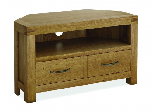 Sutton Rustic Waxed Oak Corner Tv Stand
