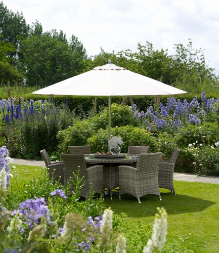 Helmsley 140cm Round Table & 6 Armchairs with Parasol and Base