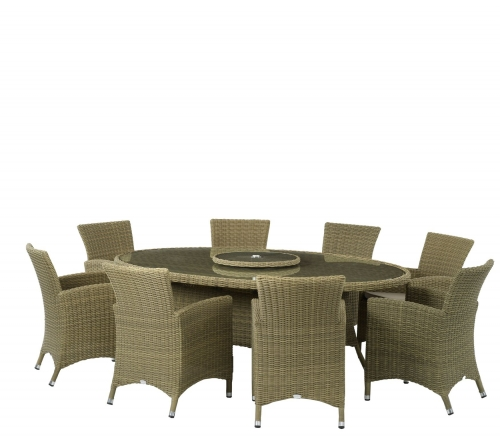 Helmsley  220cm x 145cm Elliptical Table with 8 x Armchairs and Parasol with Base