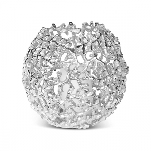 Coral Globe Silver Finish Votive