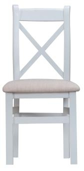 Thornton Painted Grey with Oak Top Cross Back fabric Chair