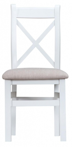 Thornton Painted White with Oak Top Cross Back Fabric Chair
