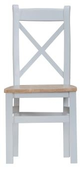 Thornton Painted Grey with Oak Top Cross Back Wooden Chair