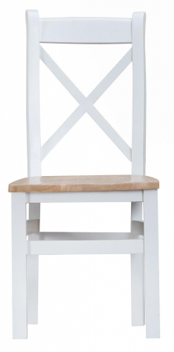 Thornton Painted White with Oak Top Cross Back Wooden Chair
