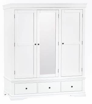 Thirlby Classic Painted White Triple Wardrobe
