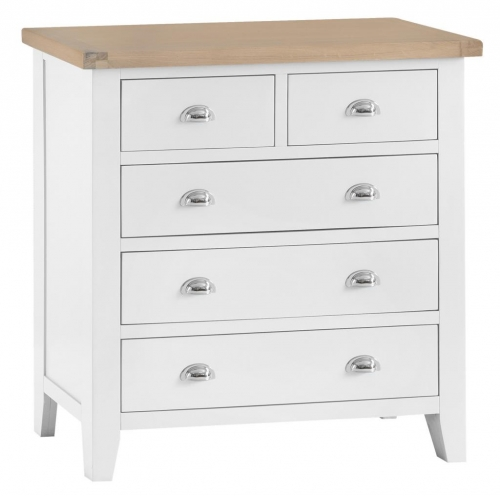 Thornton Painted White with Oak Top 2 Over 3 Chest