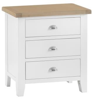 Thornton Painted White with Oak Top 3 Drawer Chest