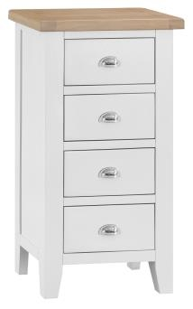 Thornton Painted White with Oak Top 4 Drawer Narrow Chest