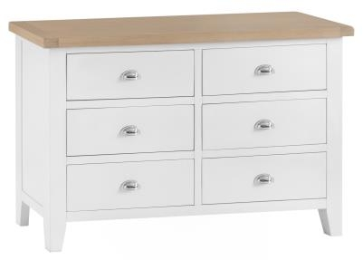 Thornton Painted White with Oak Top 6 Drawer Chest