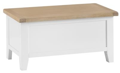 Thornton Painted White with Oak Top Blanket Box