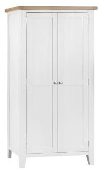 Thornton Painted White with Oak Top Full Hanging Wardrobe