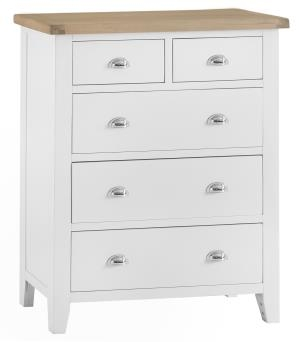 Thornton Painted White with Oak Top Jumbo 2 Over 3 Chest