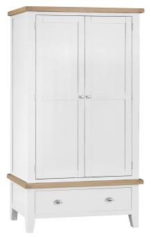 Thornton Painted White with Oak Top Double Wardrobe