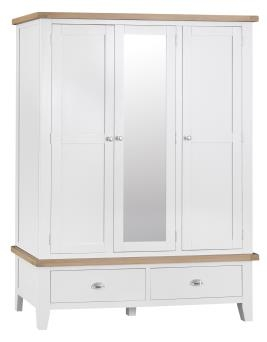 Thornton Painted White with Oak Top Triple Robe