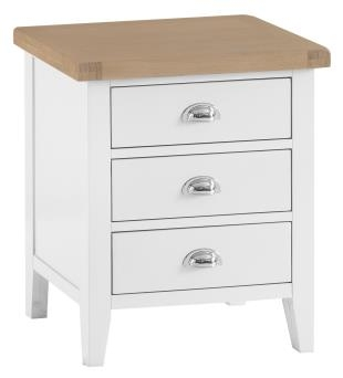 Thornton Painted White with Oak Top Extra Large Bedside