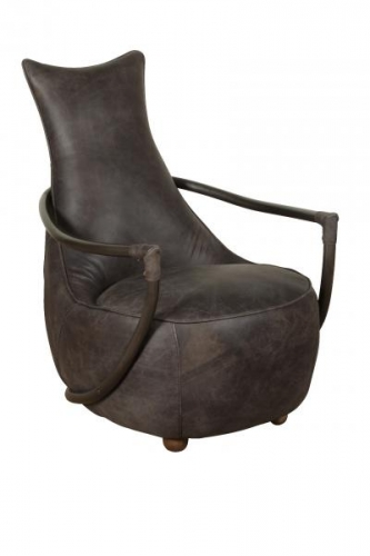 Industrial Easy Chair - Grey Leather
