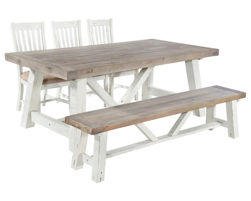 Whitley Distressed Timber Fixed Top Dining Table