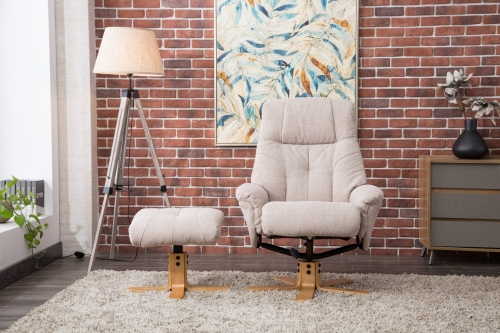 Ravenna Fabric Swivel Recliner & Footstool