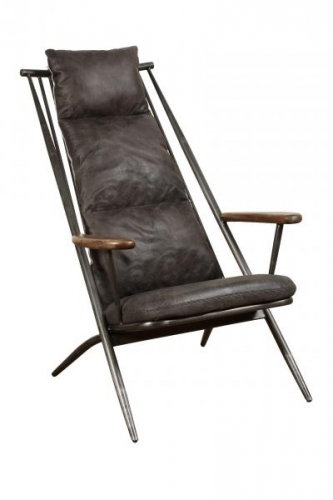 industrial Armchair - Grey Leather