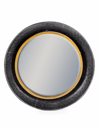 Black and Bronze Medium Round Lincoln Wall Mirror