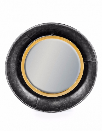 Black and Bronze Small Round Lincoln Wall Mirror