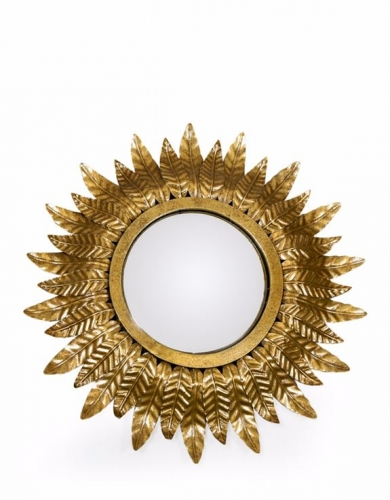 Small Gold Lead Sun Convex Mirror