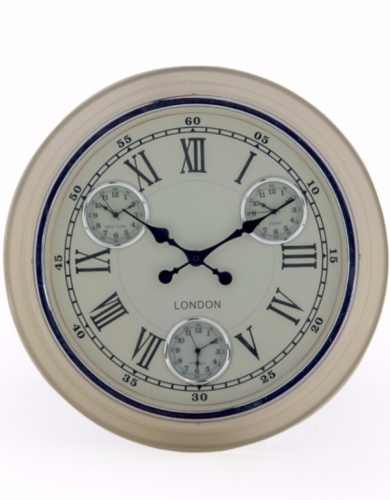 Multi Dial Cream with White Face Wall Clock