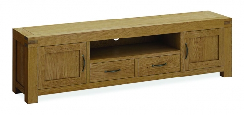 Sutton Rustic Waxed Oak Extra Large Tv Stand