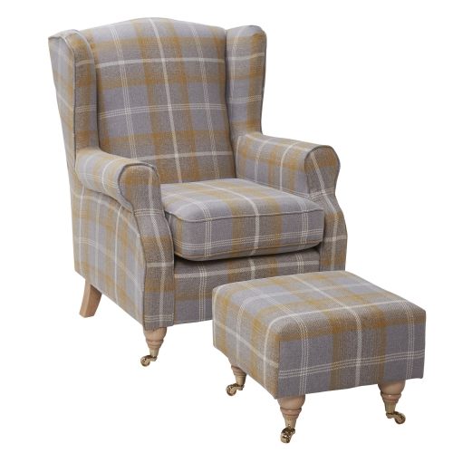 Lawrence Wing Back Chair Mustard
