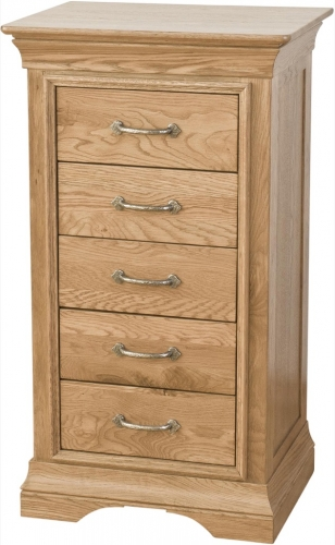 Rochelle French Oak 5 Drawer Tall Chest