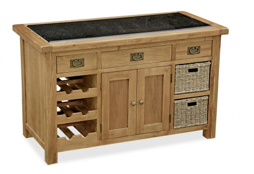 Country Rustic Waxed Oak Kitchen Island