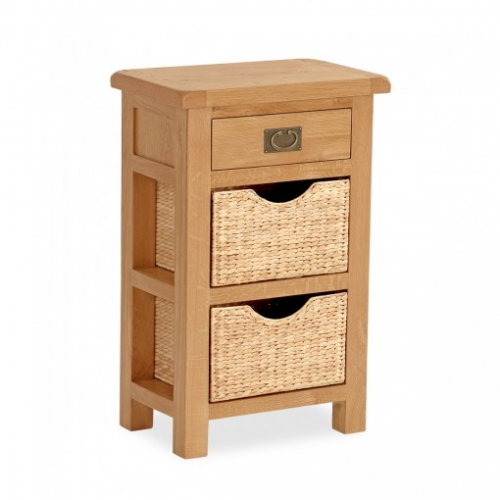 Country Rustic Waxed Oak 1 Drawer Console Table With Baskets