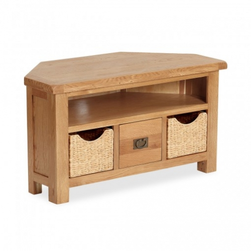 Country Rustic Waxed Oak Corner Tv Stand With Baskets