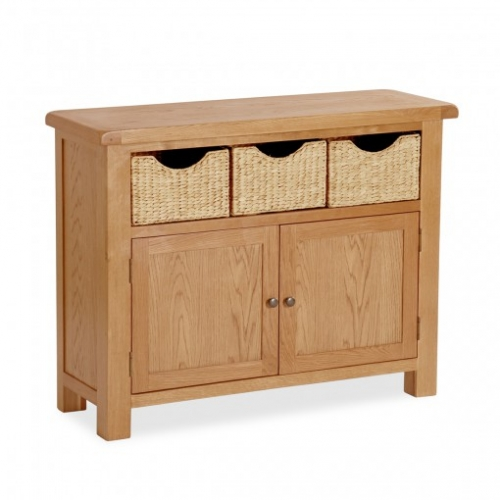 Country Rustic Waxed Oak Sideboard Table With Baskets