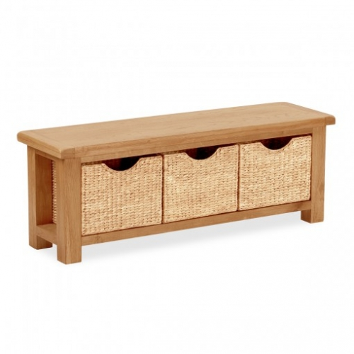 Country Rustic Waxed Oak Bench With Baskets
