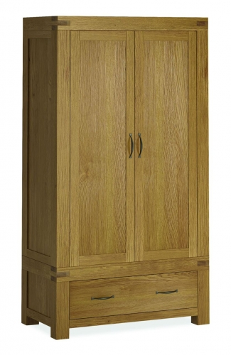 sutton Rustic Waxed Oak Double Wardrobe