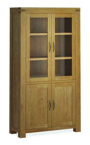 Sutton Rustic Waxed Oak Glazed Display Cabinet