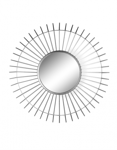 Silver Metal Framed Round Spined Mirror