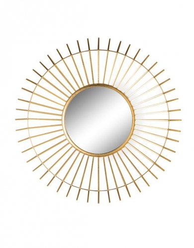 Gold Metal Framed Round Spined Mirror