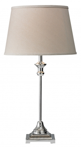 Saffron Table Lamp Chrome with Grey Shade