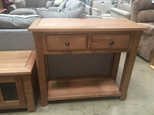 Hambleton Solid Oak 2 Drawer Console Table