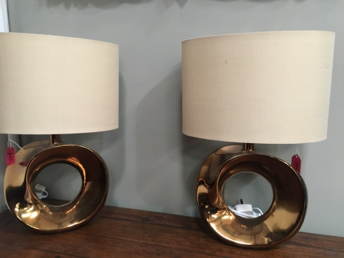Gold Hooped Lamp With Gold Shade