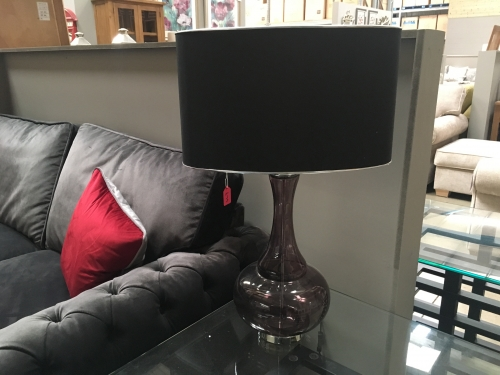 Black Glass Bulbous Lamp