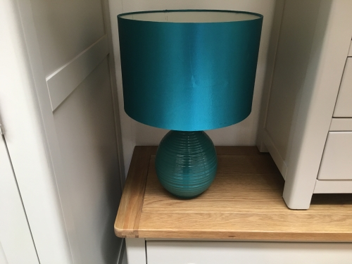Teal Ribbed Lamp
