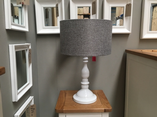 White Lamp With Grey Fabric Shade