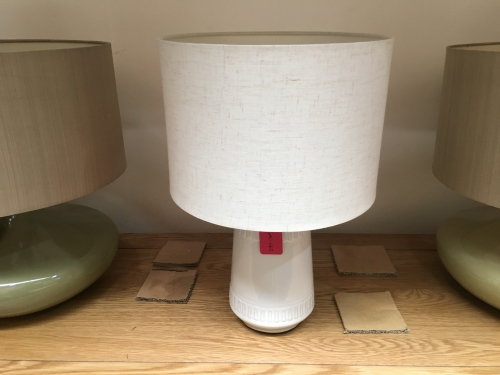 Small White Lamp With Oatmeal Shade