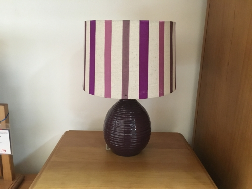 Purple Lamp With Striped Purple Shade