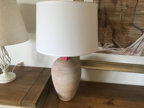 Beige Ceramic Lamp With White Shade